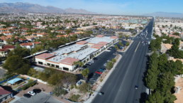 Drone shot of commercial building in Las Vegas, Nevada